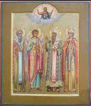 Трое избранных святых - Василий Великий, Алексей Митрополит, Ольга с Ангелом-хранителем